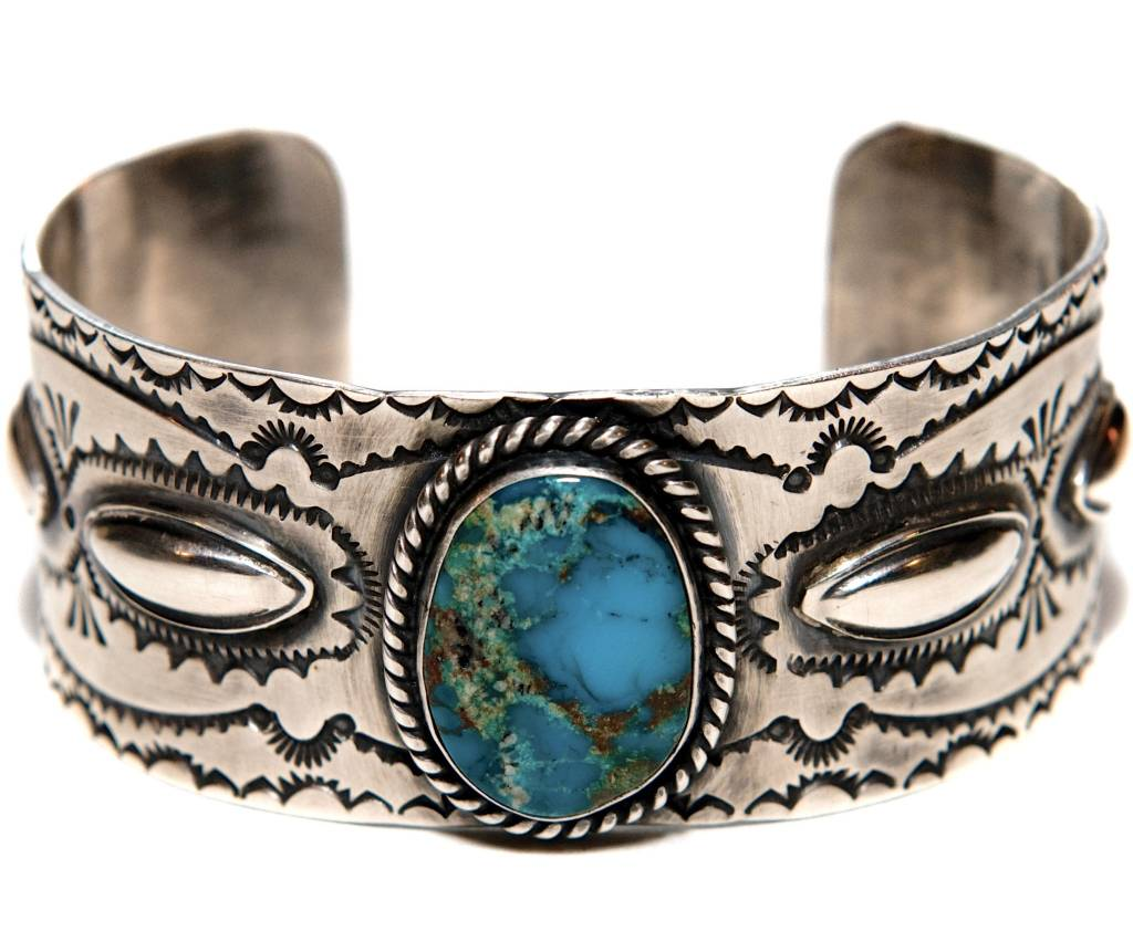 Bisbee Turquoise Silver Bracelet by Etta and Randy Endito (Navajo).
