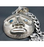 Moon Mask Repousse Pendant with Abalone Inlay by Matilpi Designs.