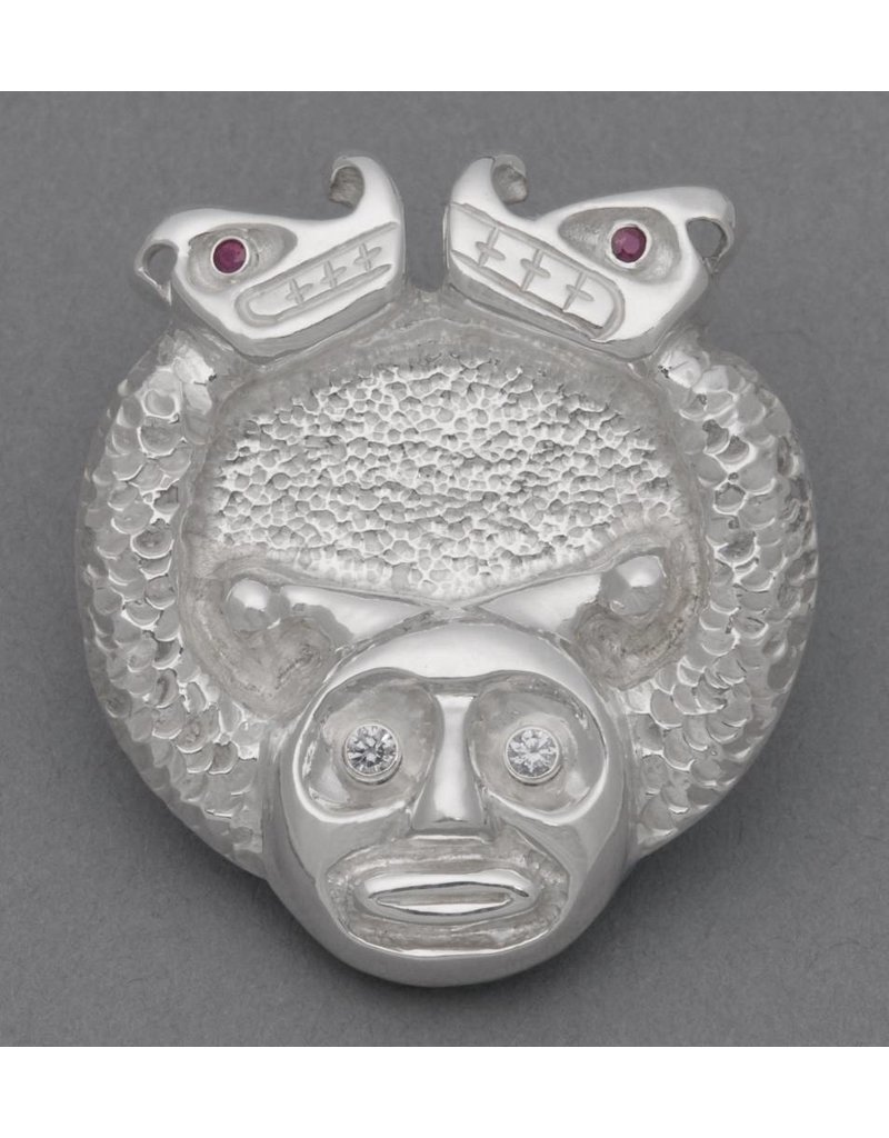 Sisiutl  Pendant with Diamond & Ruby Eyes Repousse & Chasing