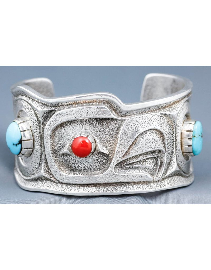 Tufa Casted Eagle Cuff with Turquoise and Coral by Terrance Campbell