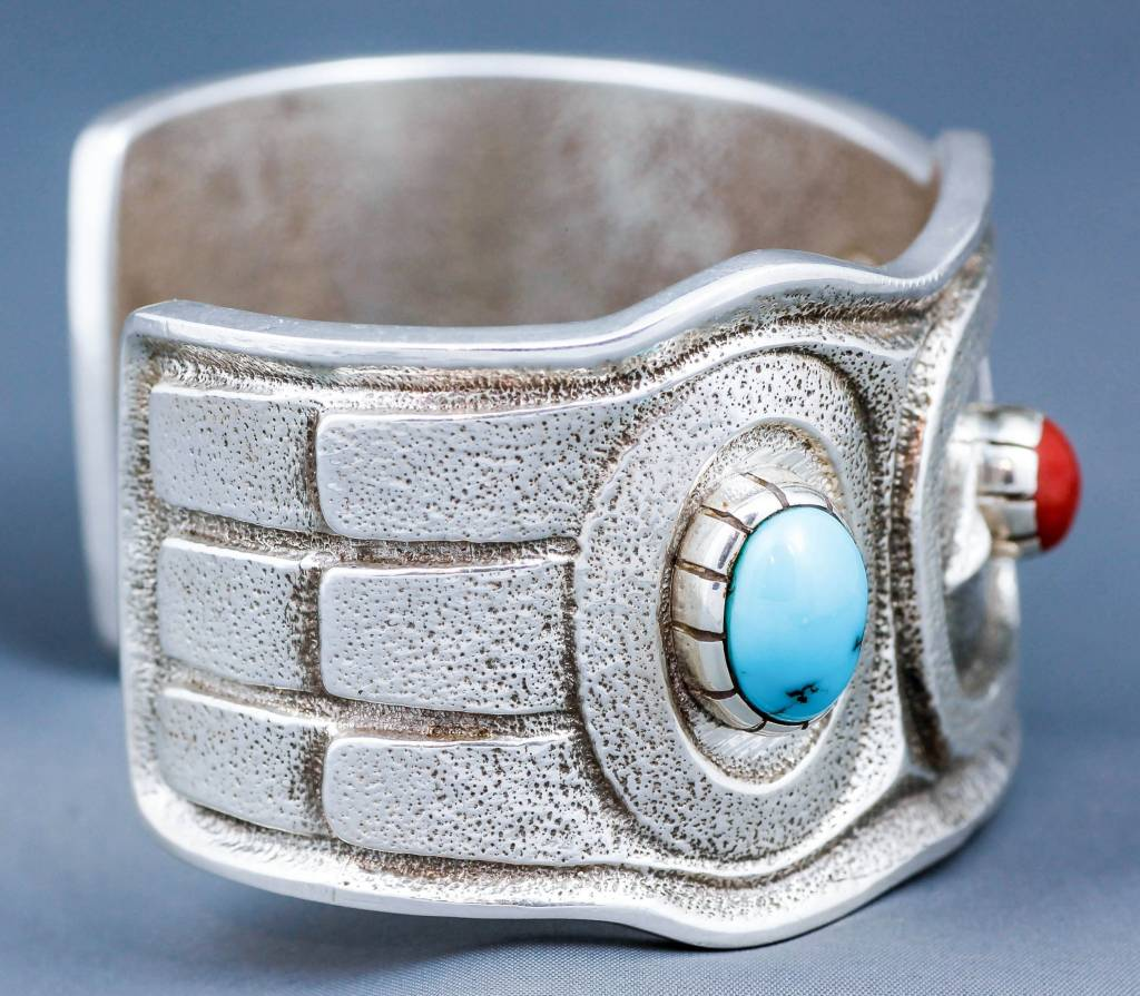 Tufa Casted Eagle Cuff with Turquoise and Coral bracelet cuff by Terrance Campbell