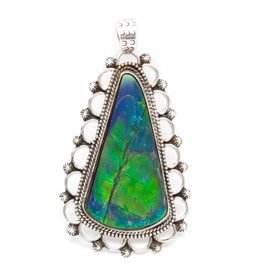 Silver Pendant with Natural Iniskim by Ruth Ann Begay