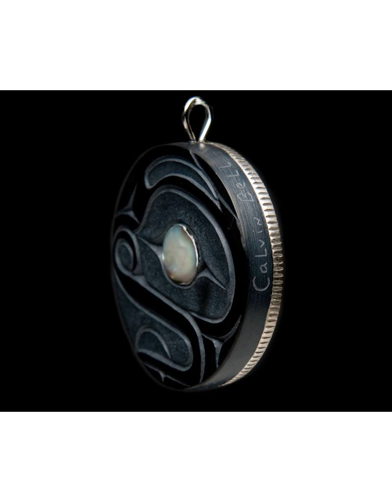 Frog Argillite Pendant with Silver Haida Dollar