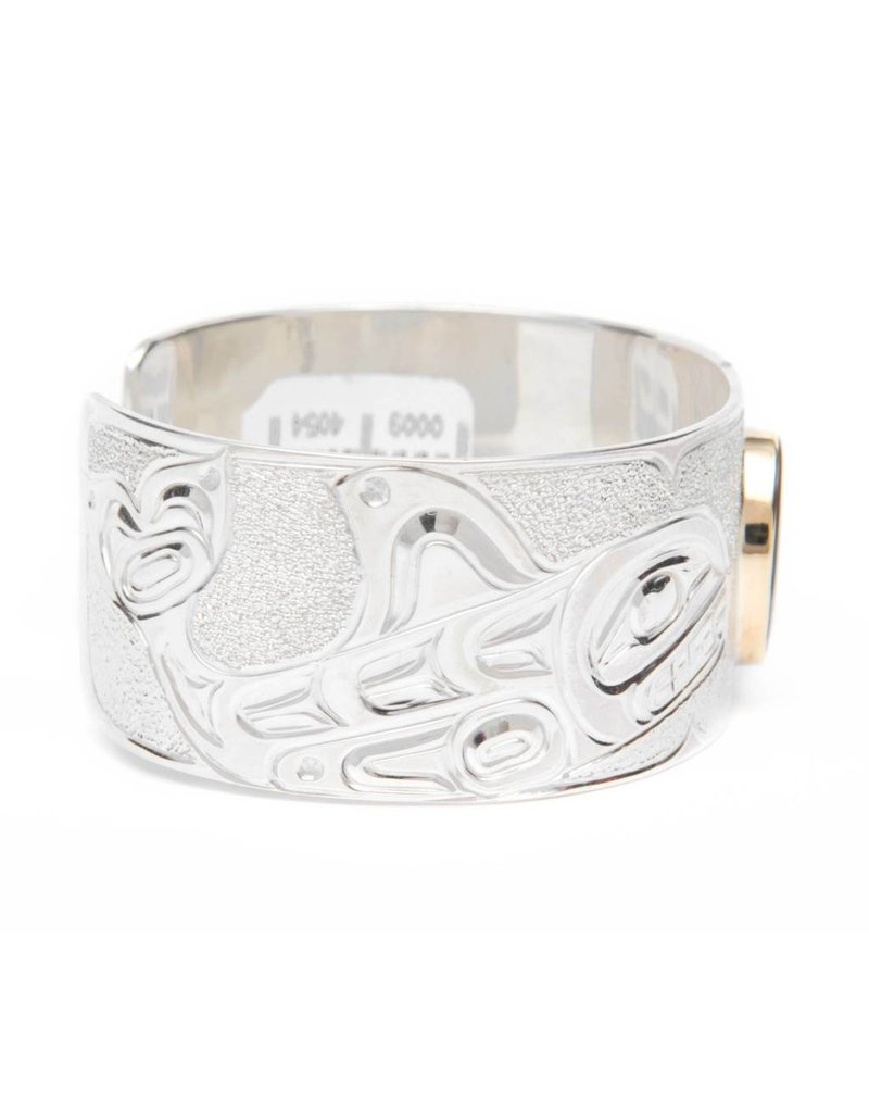 "1"" Killer Whale Silver and Iniskim Bracelet by Matilpi Designs"