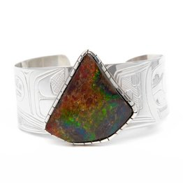 Silver and Ammolite Raven Bracelet by Terrence Campbell