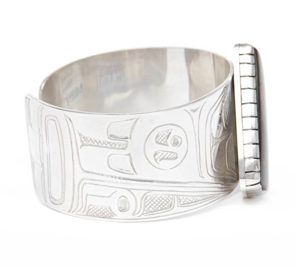 Silver and Iniskim Raven Bracelet by Terrence Campbell