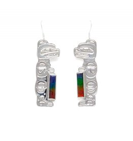 Silver with Ammolite Bear Earrings by Matilpi Designs