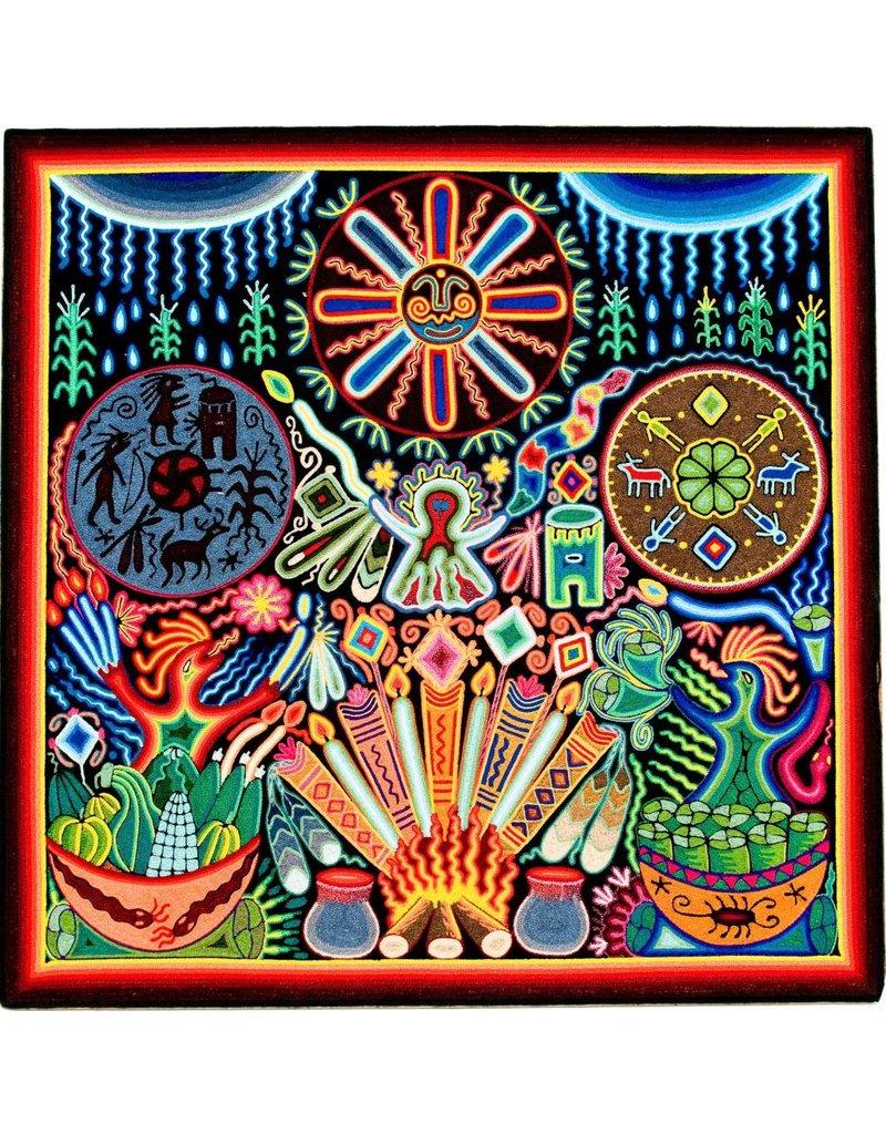 "24"" Yarn Painting by Cecilio Carrillo Bonilla (Huichol)."