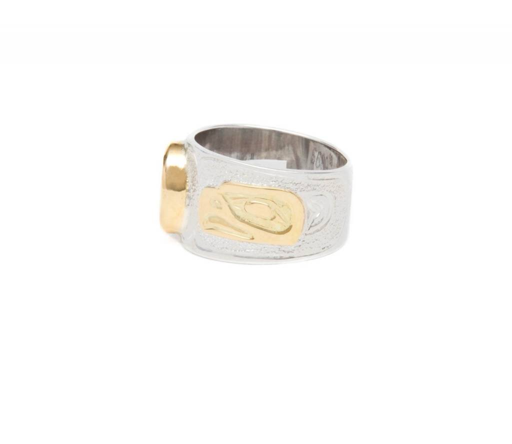 Gold, Silver and Iniskim Eagle Ring. Size 7