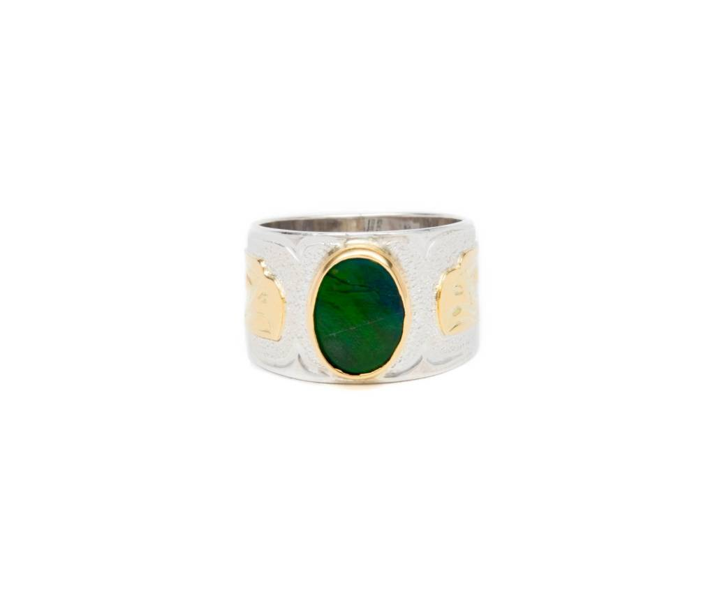Gold, Silver and Ammolite Eagle Ring. Size 7