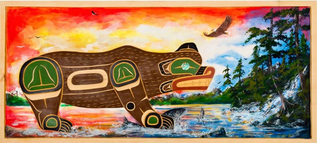 tsaw 'Fishing Bear' Wall Panel by John Spence (Squamish, Coast Salish).