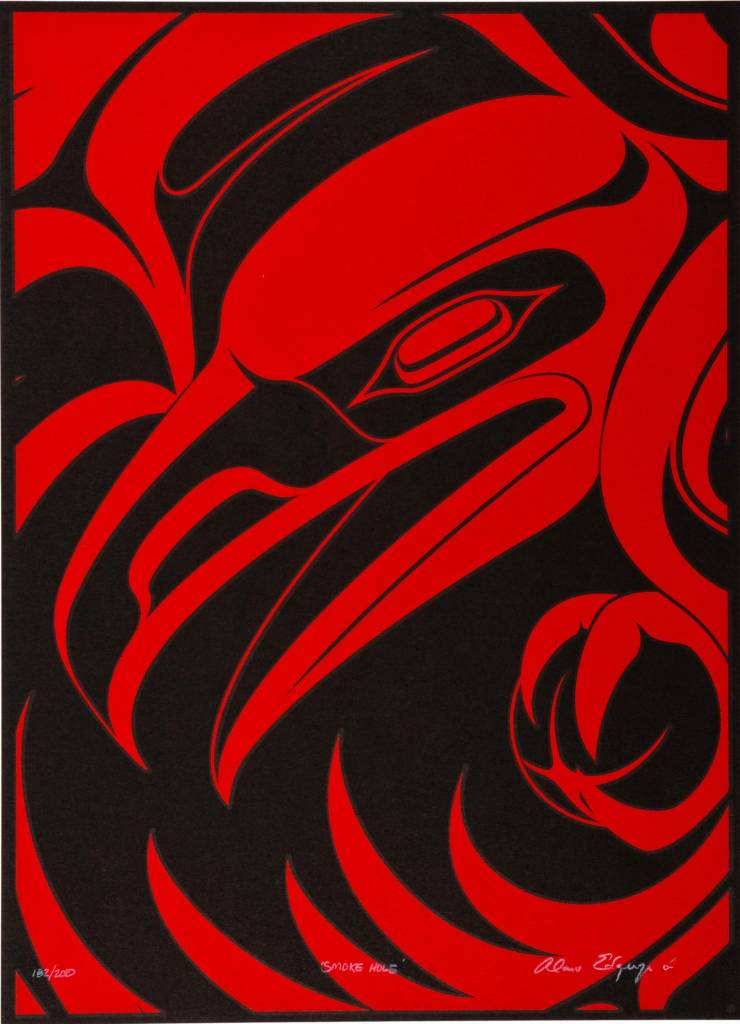 'Smoke Hole' print by Alano Edzerza (Tahltan).