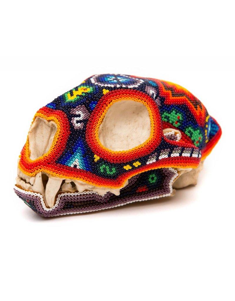 Beaded Ceramic Puma Skull