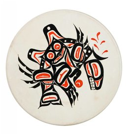 Hand Drum with Owl / Killer Whale Design by Keith Morgan (Gitxsan).