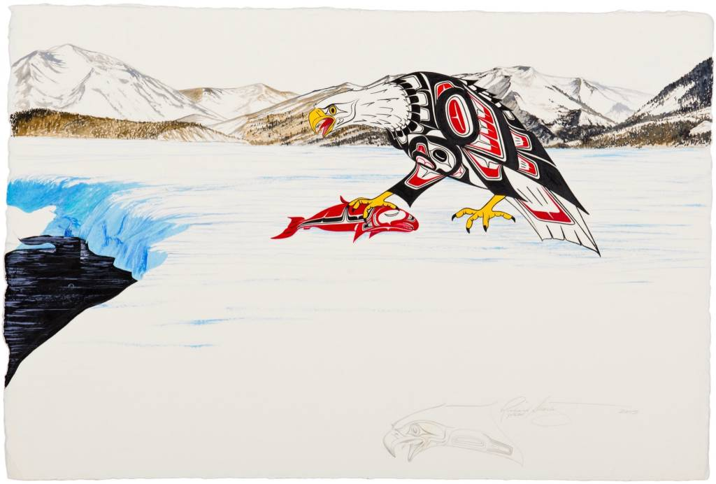 Original Painting - 'Eagle with Salmon' by Richard Shorty (Northern Tutchone).