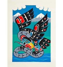 'No Pipelines - Eagle and Snake' by Gord Hill (Kwakwakawakw).