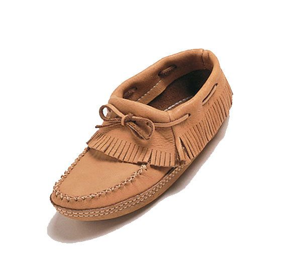 Ladies Fringed Ankle Moosehide Moccasins