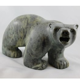 Soapstone Walking Bear by Rodney Kolausok (Inuit).