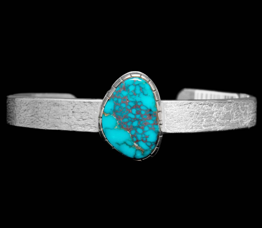 "3/8"" Tufa Casted Turquoise Bracelet by Terrance Campbell"