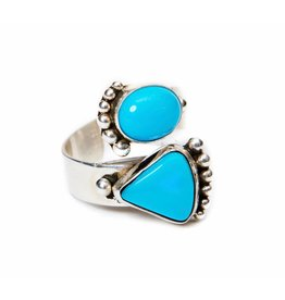 2 Stone Sleeping Beauty Turquoise Ring by Ruth Ann Begay