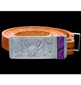 Raven Belt Buckle with Sugilite by Terrence Campbell (Tahltan).