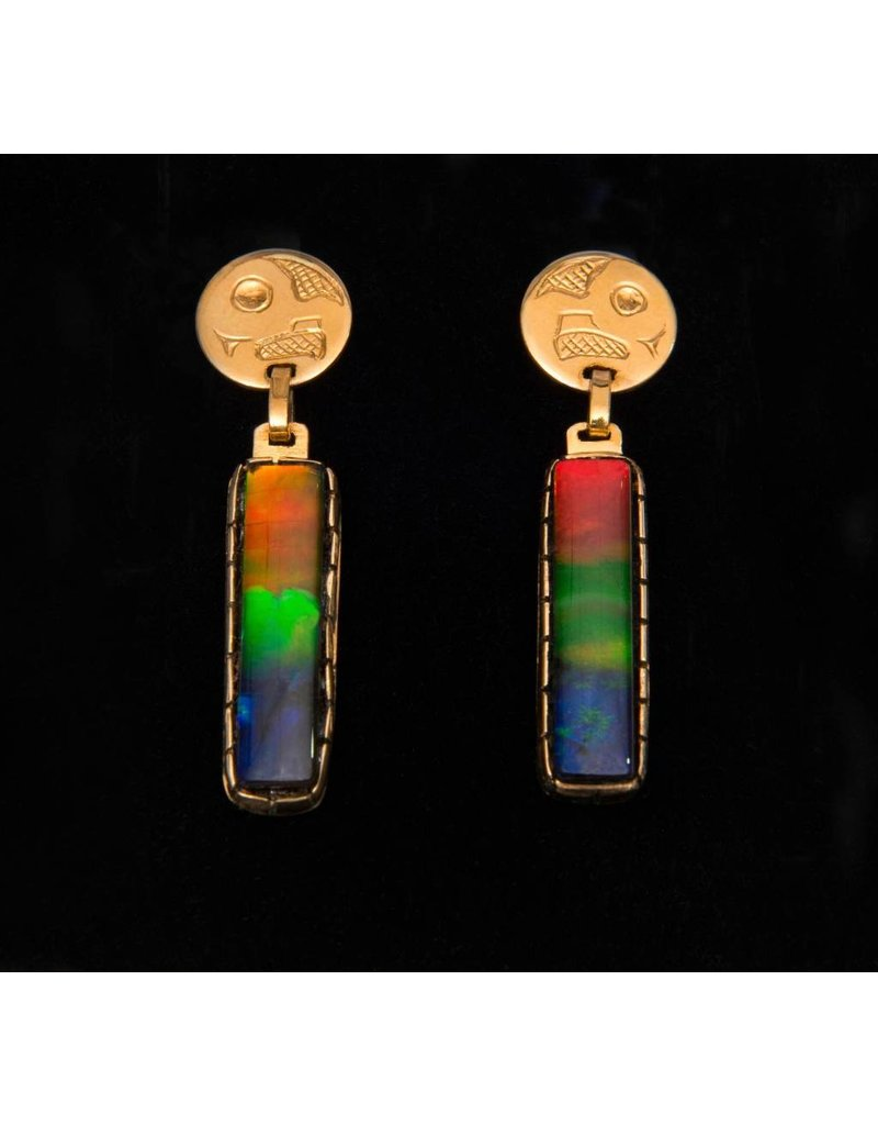 18 kt and AAA Iniskim Gold Earrings - Owl Design by Terrence Campbell (Tahltan).