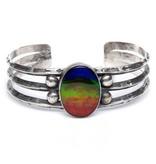 Silver and Ammolite Bracelet by Randy and Etta Endito (Navajo).