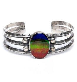 Silver and Ammolite Bracelet by Randy and Etta Endito.