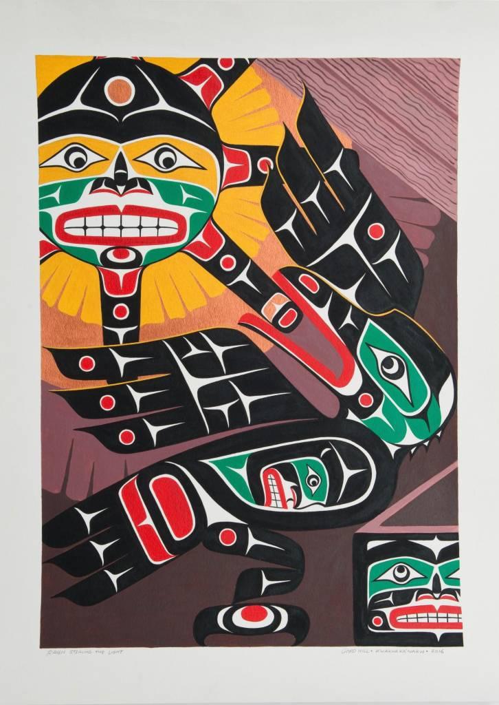 SOLD  'Raven Stealing the Sun' Original Painting by Gord Hill (Kwakwakawakw).