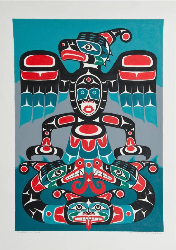 SOLD 'Thunderbird and Sisiutl' Original Painting by Gord Hill (Kwakwakawakw).
