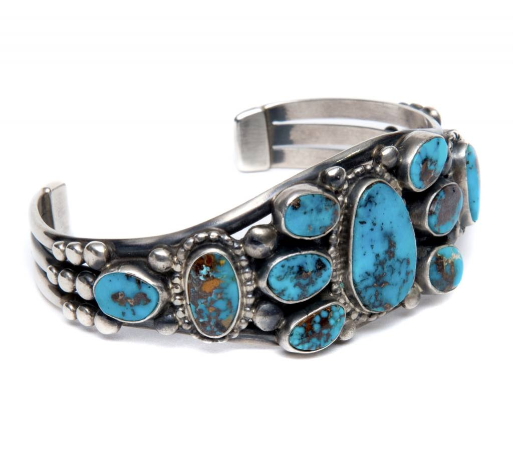 11 Stone Morenci Turquoise Bracelet by Verdi Jake (Navajo).