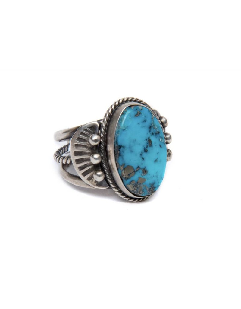 Kingman Turquoise Ring S 8.75 by Randy and Etta Endito (Navajo).