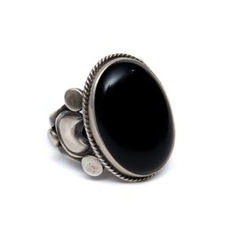 Black Onyx Ring by Randy and Etta Endito (Navajo).