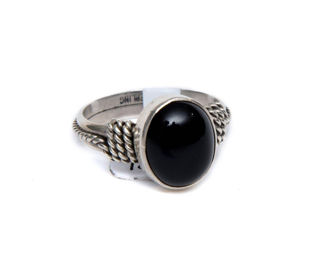 Black Onyx Oval Ring by Randy and Etta Endito (Navajo).