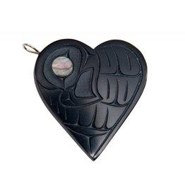 Argillite Heart Eagle Pendant