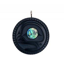 Argillite Moon pendant by Calvin Bell (Haida).
