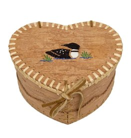 "Medium Heart Shaped Birchbark Basket - 4"" x 7"""