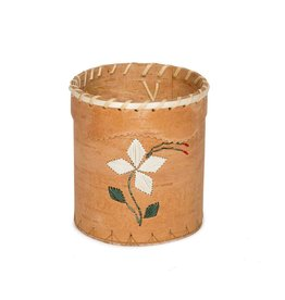 Birchbark Brush Holder with Porcupine Quill Design.