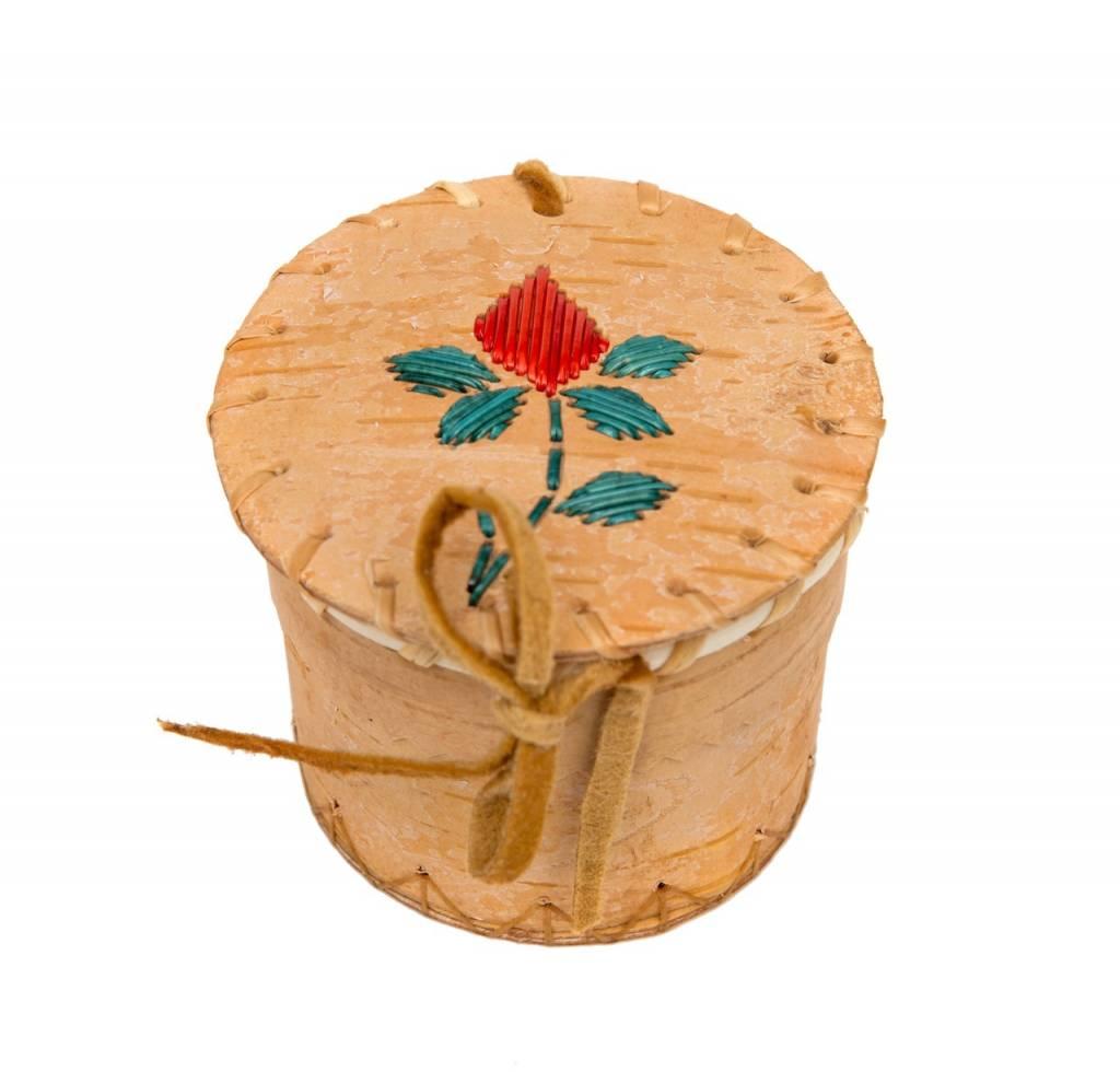 Small Souvenir Birchbark Basket with Quills.