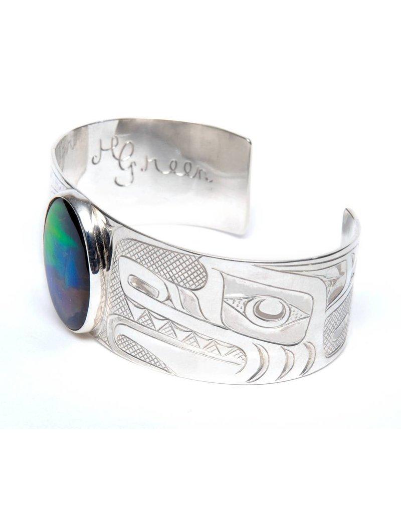 "Silver and Iniskim 1"" Wolf Bracelet by Henry Green (Tsimshian)."