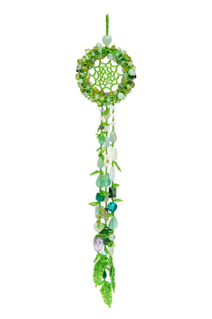 Green Beaded Dreamcatcher with Stones, Glass Beads and Beaded Feathers.
