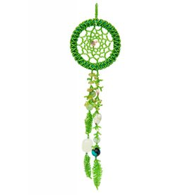 Green Beaded Dreamcatcher with Stones and Birds.