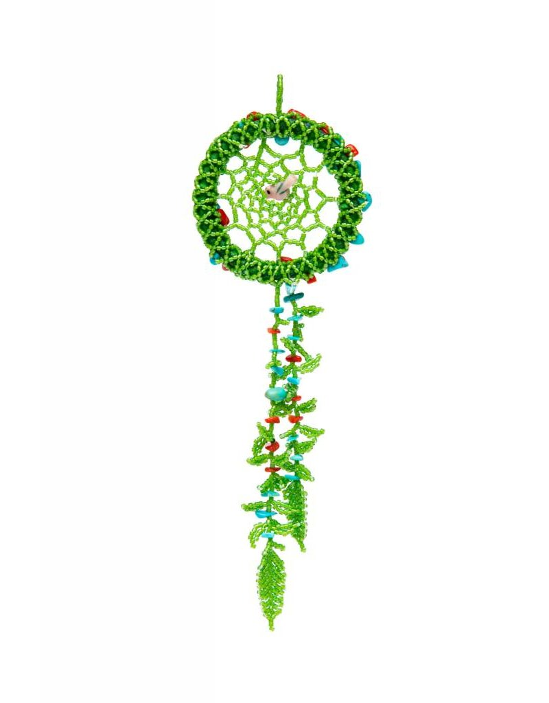 Green Beaded Dreamcatcher with Turquoise and Coral Stones.