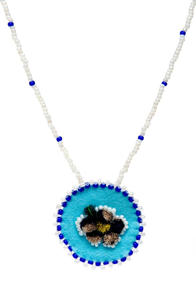 Beaded Medallion Necklaces with Moosehair Tufting.