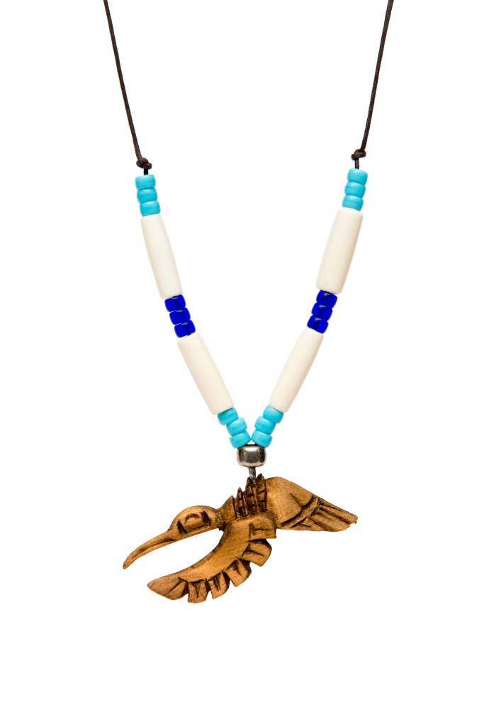 Necklaces with Bone Beads, Silver and Glass Beads, and Cedar Carvings