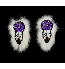 Beaded Barrettes Pairs with Rabbit Fur.