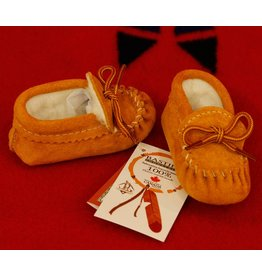 Childrens Moose-Suede Moccasins with Fleece Lining