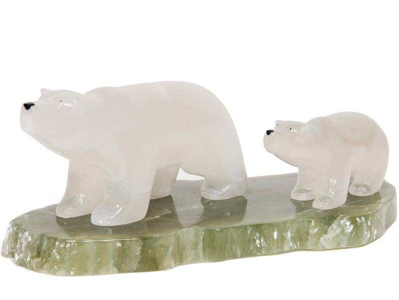Two Soapstone Polar Bears by Gilbert Daniels (Dene).