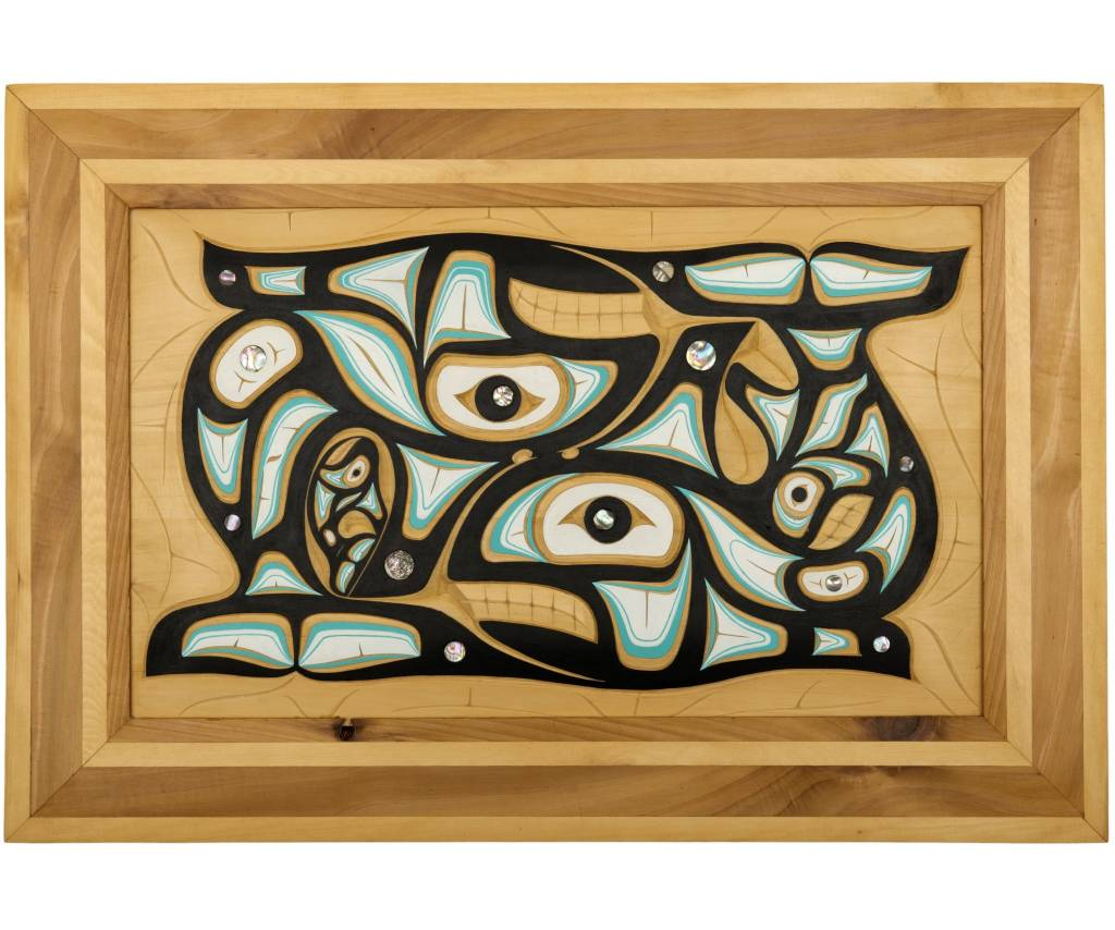 Orca panel by Andrew Jackson Flatfoot (Anishinabe).