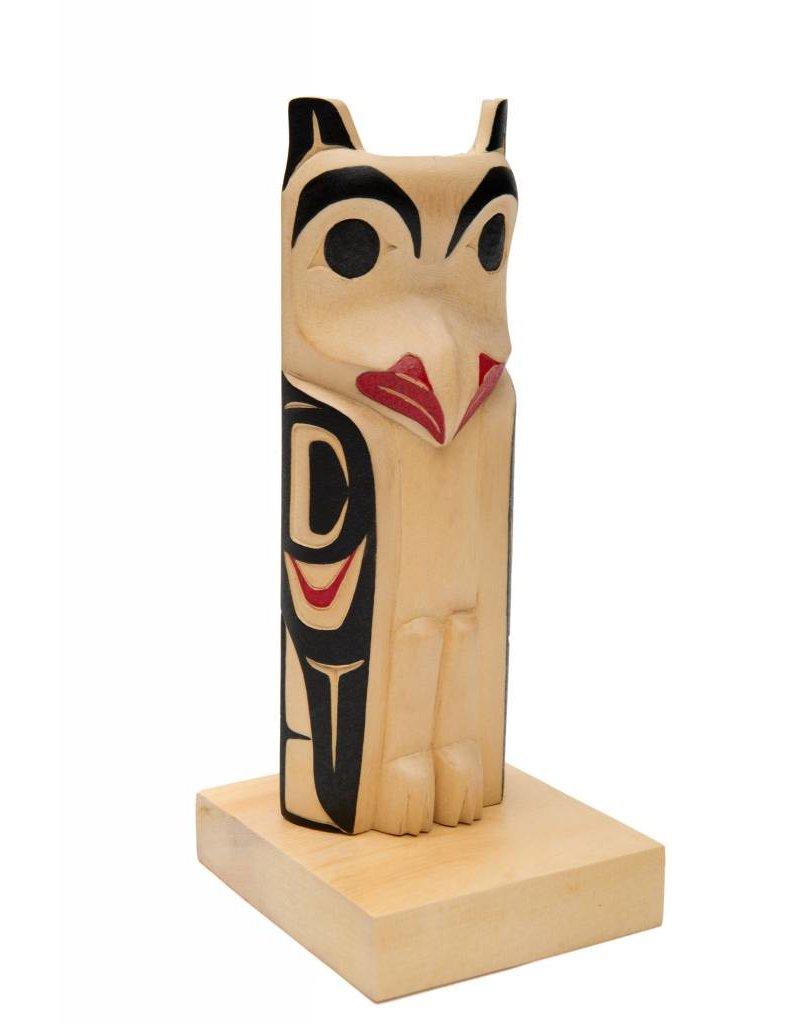 Small owl totem pole by James Tait (Nisga).